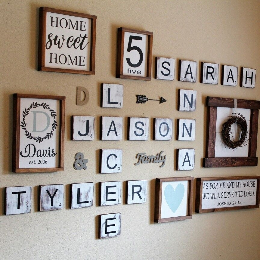 Large Scrabble Tiles, Scrabble Tiles, Scrabble Wall Art, Gallery Within Scrabble Wall Art (Image 6 of 10)