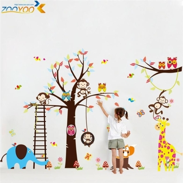 Large Size Animal Wall Stickers For Kids Room Decorations Monkey Owl Within Kids Wall Art (Photo 1 of 10)