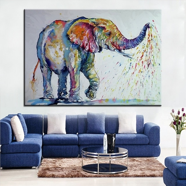Large Size Printing Oil Painting Nice Elephant Wall Painting Wall Throughout Elephant Wall Art (View 3 of 10)