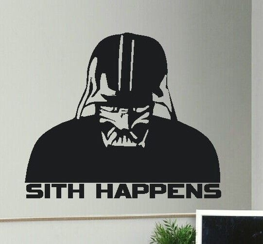 Large Star Wars Darth Vader Sith Happens Wall Art Sticker High Within Darth Vader Wall Art (Image 4 of 10)