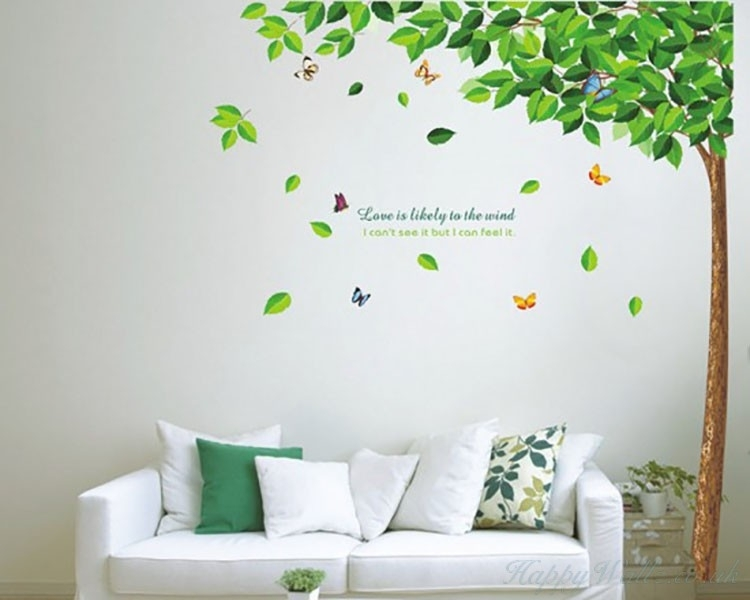 Large Tall Tree Green Leaves Wall Decal Vinyl Tree Art Stickers In Wall Tree Art (Image 5 of 10)