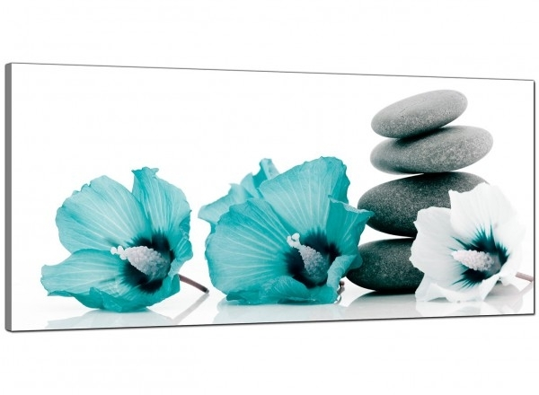 Large Teal And Grey Canvas Pictures Of Flowers And Pebbles Pertaining To Teal Wall Art (Image 5 of 10)