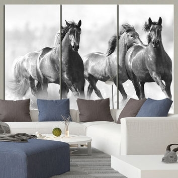 Large Wall Art Running Wild Horses Canvas From Mycanvasprint With Regard To Horse Wall Art (Image 4 of 10)