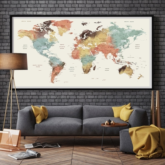 Large Wall Art World Map Push Pin Print / Watercolor World Map Print Regarding Wall Art World Map (Image 2 of 10)
