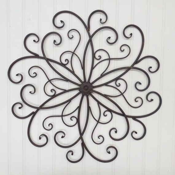 Large Wrought Iron Wall Decor You Pick Color(S)/ Metal Wall Decor For Metal Scroll Wall Art (Image 5 of 10)