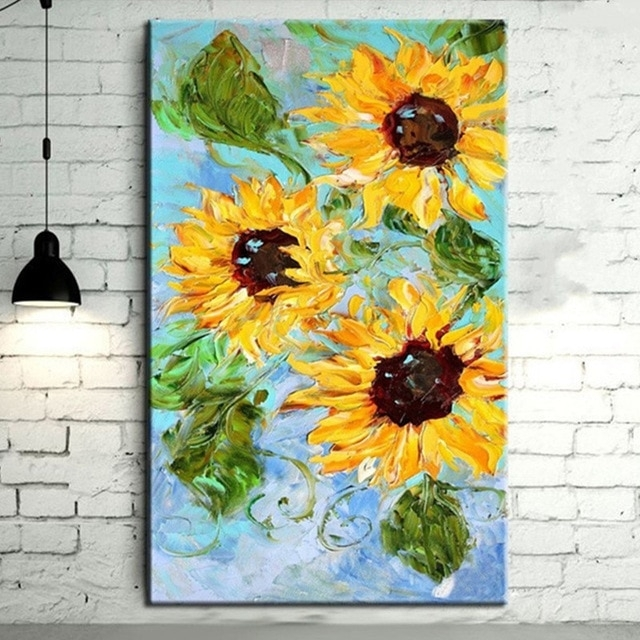 Large Yellow Sunflower Wall Art Picture Hand Painted Knife Flower Throughout Sunflower Wall Art (Image 5 of 10)
