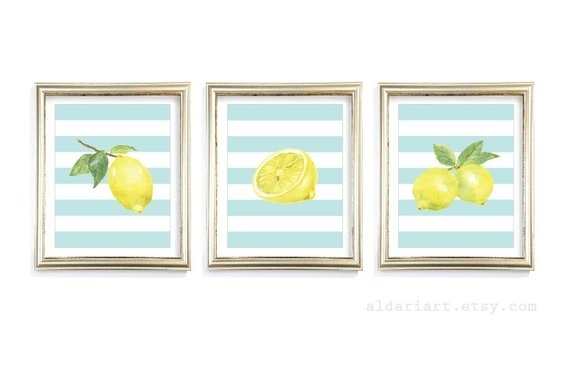 Lemon Art Prints Lemon Wall Art Lemon Watercolour Prints | Etsy Within Lemon Wall Art (Image 5 of 10)