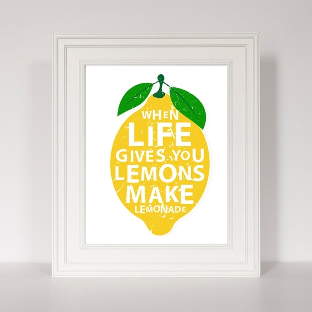 Life Gives You Lemons Quotes Canvas Painting Modern Prints Poster For Lemon Wall Art (Image 7 of 10)