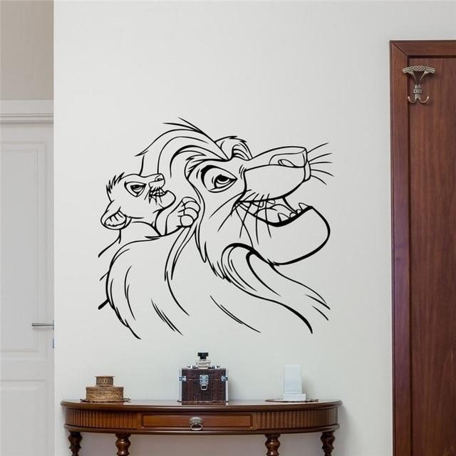 Lion King Wall Decal Cartoons Vinyl Sticker Simba Nursery Wall Decor Within Lion King Wall Art (Image 4 of 10)
