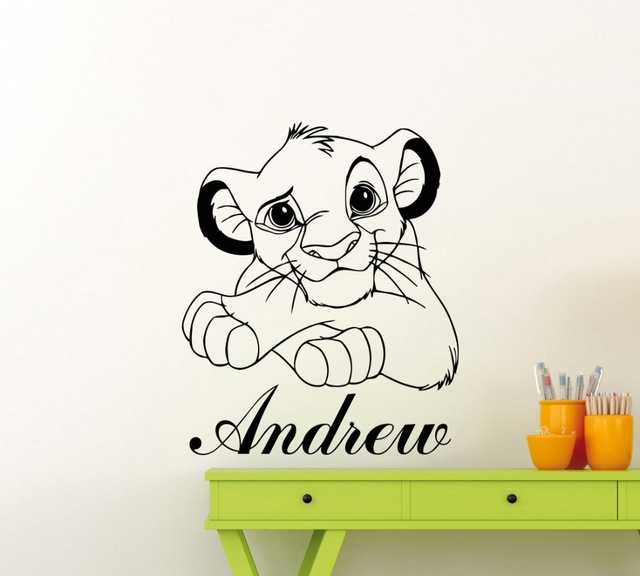 Lion King Wall Sticker Custom Name Cartoon Vinyl Wall Decals Simba Inside Lion King Wall Art (Photo 9 of 10)