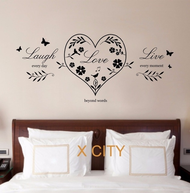 Live Laugh Love Heart Quote Creative Wall Art Sticker Removable In Live Laugh Love Wall Art (Image 4 of 10)