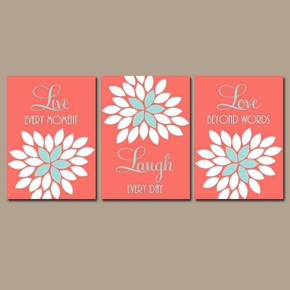 Live Laugh Love Wall Art, Coral Wall Art, Coral Nursery Decor, Coral Pertaining To Coral Wall Art (Photo 9 of 10)