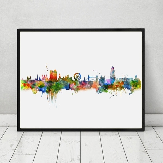 London Skyline City Poster Watercolor Painting London Wall Hanging Intended For London Wall Art (Image 6 of 10)