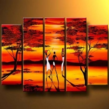 Long Shadows Modern Canvas Art Wall Decor Landscape Oil Painting Regarding Long Canvas Wall Art (Image 5 of 10)