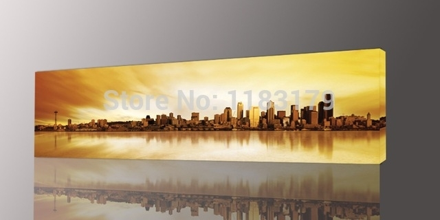 Long Yellow City Painting Canvas Wall Art Picture Print For Living For Long Canvas Wall Art (View 1 of 10)