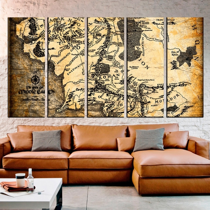 Lord Of The Rings Maps Canvas Wall Art In Lord Of The Rings Wall Art (Image 4 of 10)