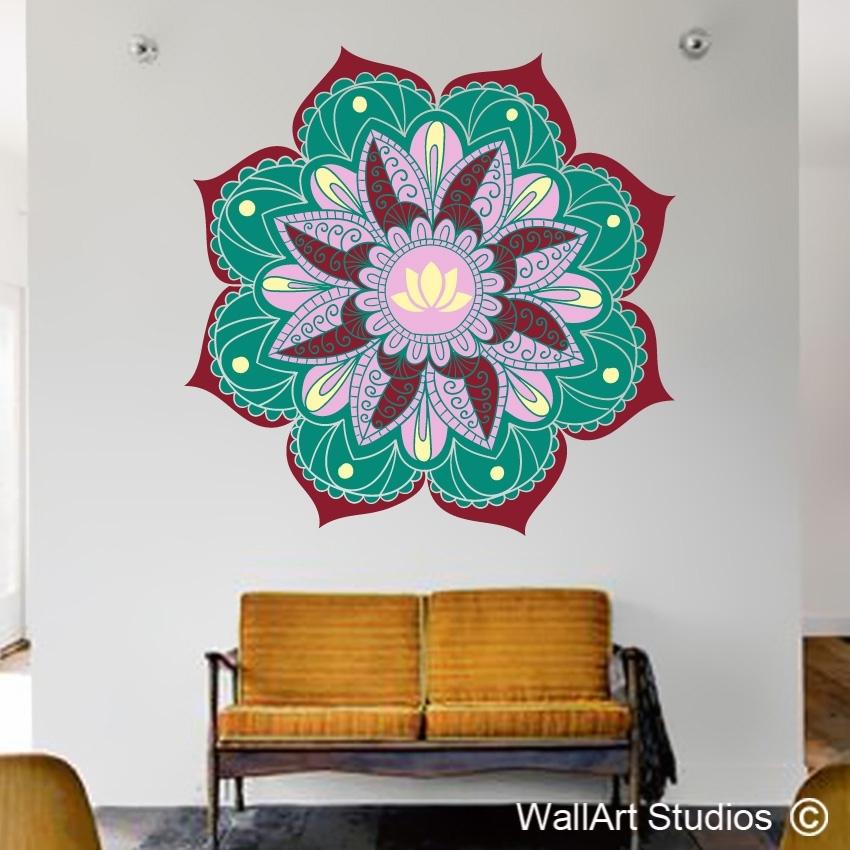 Lotus Mandala Wall Art Sticker | Wall Art Studios Intended For Mandala Wall Art (Image 2 of 10)