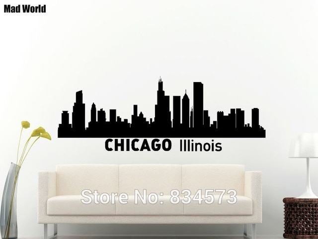 Mad World Chicago Skyline City Silhouette Chicago Wall Art Stickers Pertaining To Chicago Wall Art (Image 9 of 10)