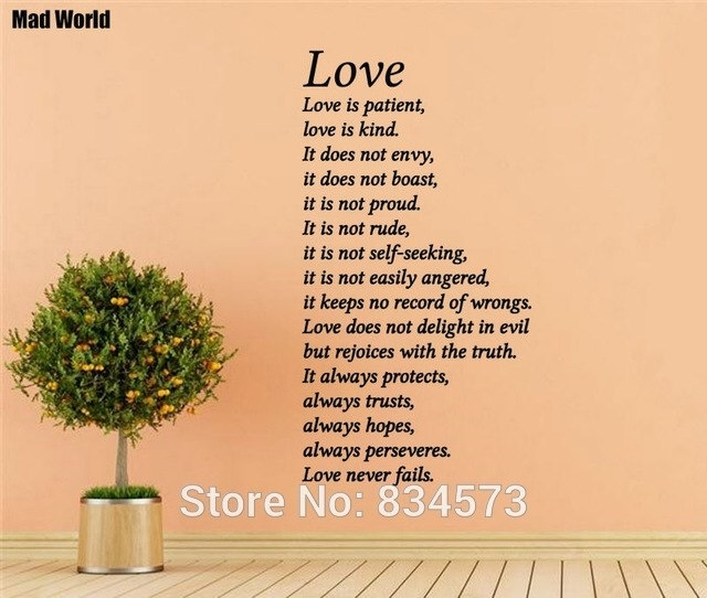 Mad World Love Is Patient Kind Love Never Fails Wall Art Stickers Within Love Is Patient Wall Art (Image 7 of 10)