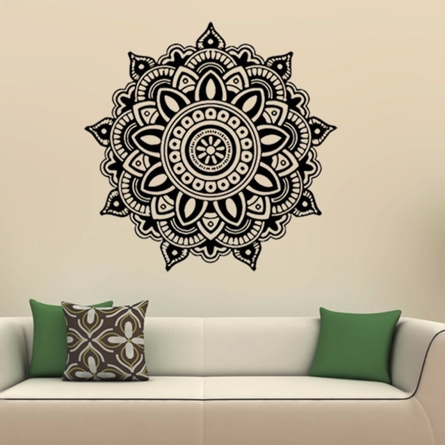 Mandala Flower Indian Wall Art Stickers Mural Home Bedroom Wall In Wall Art Stickers (Image 7 of 10)