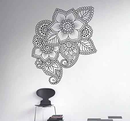 Mandala Wall Art Henna Wall Decal Abstract Flowers Vinyl Sticker With Mandala Wall Art (Image 4 of 10)