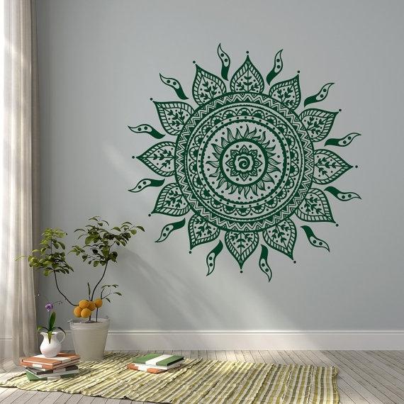 Mandala Wall Decal Sticker  Mandala Vinyl Wall Decals  Yoga Studio With Regard To Mandala Wall Art (Image 5 of 10)