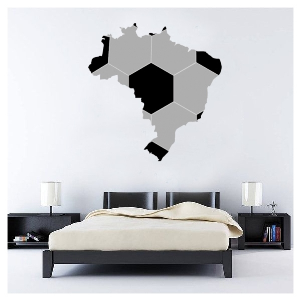 Map Of Brazil Brasil Soccer Wall Sticker Fantastic Wall Art Decal Pertaining To Soccer Wall Art (Image 4 of 10)