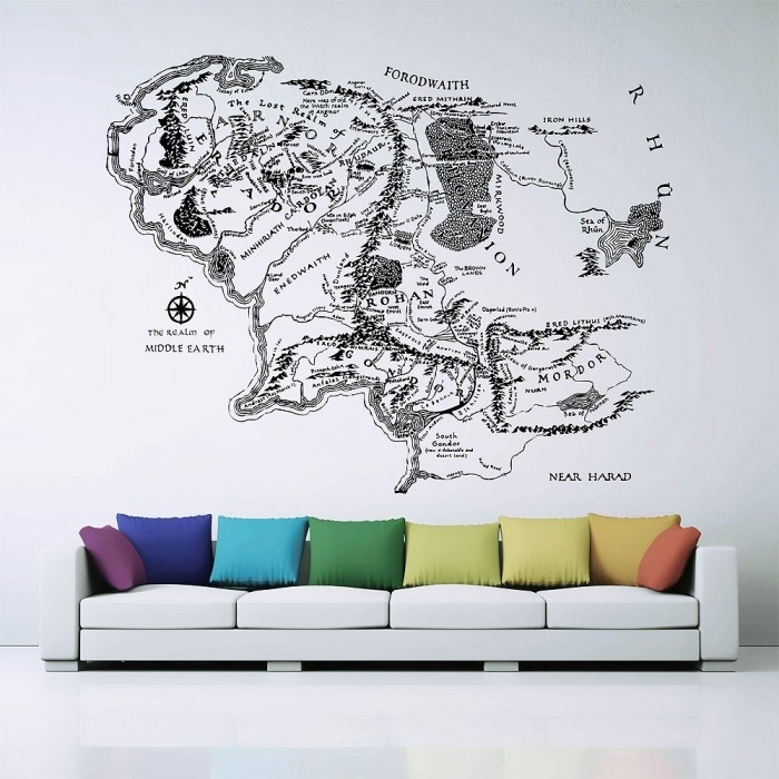 Map Of Middle Earth Lord Of The Rings Vinyl Wall Art Decal Throughout Lord Of The Rings Wall Art (Image 6 of 10)