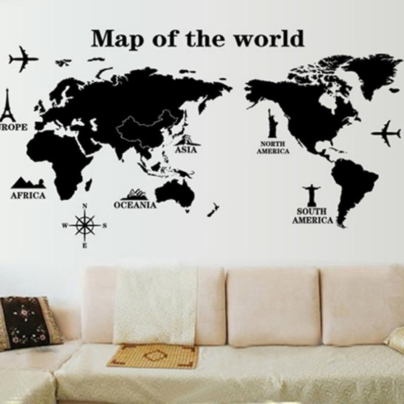 Map World Wall Stickers Living Room Art Decal Removeable Wallpaper With Regard To Map Of The World Wall Art (Image 5 of 10)