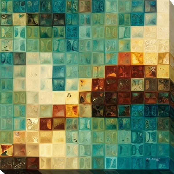 "Mark Lawrence ""aqua Tiles"" Giclee Stretched Canvas Wall Art – Ships Throughout Tile Canvas Wall Art (Image 5 of 10)"
