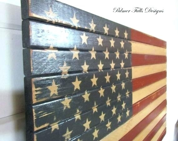 Metal And Wood American Flag Metal Flag Wall Art Hidden Gun Storage Intended For American Flag Wall Art (Image 9 of 10)