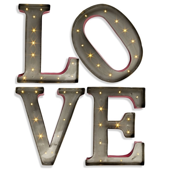 Metal Letter Wall Art Glamorous Large Led Wall Art 15 Inch Lighted Within Metal Letter Wall Art (View 3 of 10)