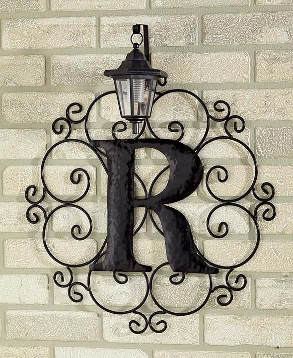 Metal Monogram Solar Light Wall Art Hanging Decor Scrollwork Frame Regarding Metal Outdoor Wall Art (View 9 of 10)