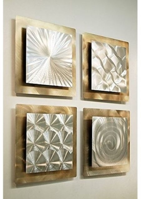 Metal Wall Art Panels Set Of 4 Gold Silver Modern Abstract Square Regarding Metal Wall Art Panels (Image 5 of 10)
