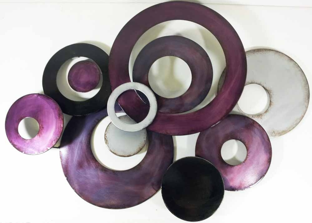 Metal Wall Art – Purple Linked Circle Disc Abstract For Circle Wall Art (Image 5 of 10)