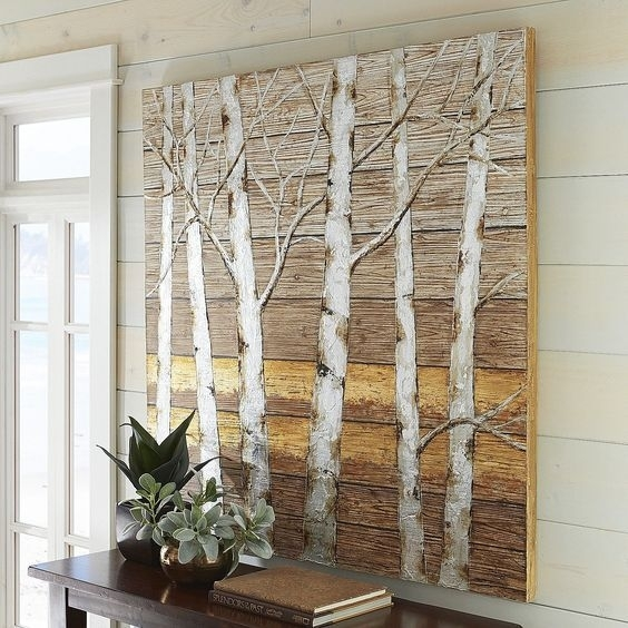 Metallic Birch Trees Wall Art 4X4 Birch Tree Decor – Ahtapot Home Within Birch Tree Wall Art (Image 9 of 10)