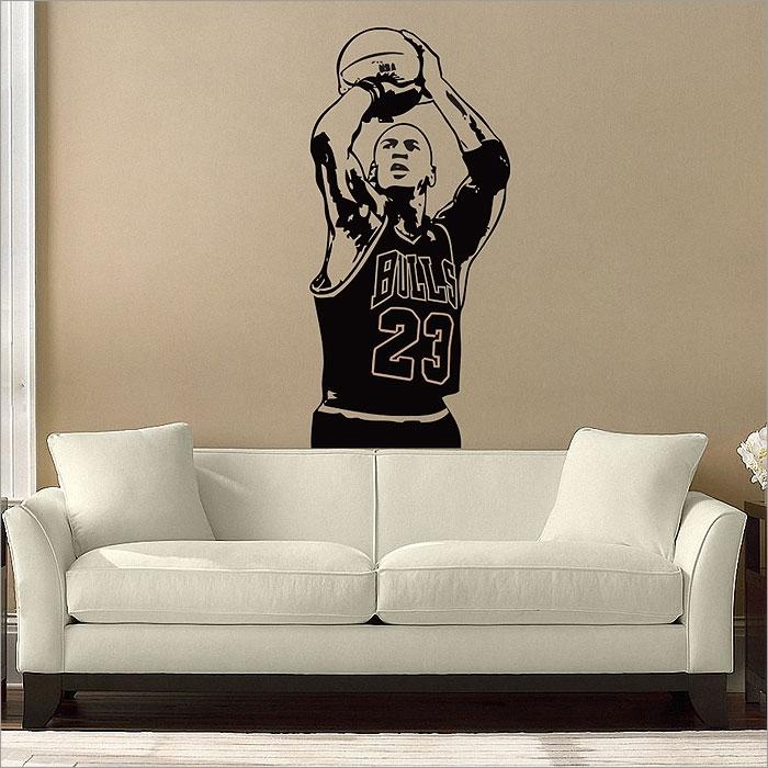 Michael Jordan Basketball Shoot Vinyl Wall Art Decal With Basketball Wall Art (Image 8 of 10)
