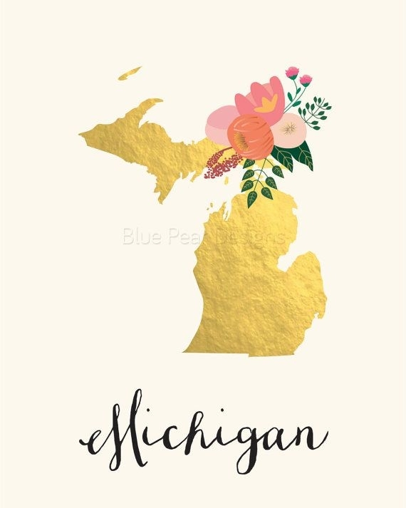 Michigan Art Printable Michigan State Art Printable Michigan Wall For Michigan Wall Art (View 4 of 10)