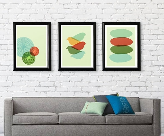 Mid Century Modern Bird Art Print Free Shipping Gifts Under 25 Mid With Regard To Mid Century Wall Art (Image 7 of 10)