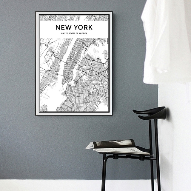 Minimalist New York City Map Canvas Painting Black And White Pop Pertaining To New York Wall Art (Image 3 of 10)