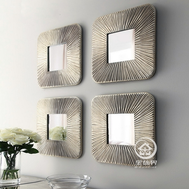 Mirrored Wall Decor Fretwork Square Wall Mirror Framed Wall Art Set For Mirrored Wall Art (Image 8 of 10)