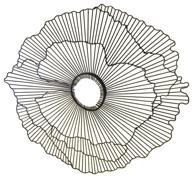 "Modern 21"" Wire Flower Wall Art, Contemporary Metal Sculpture Pertaining To Wire Wall Art (Image 6 of 10)"