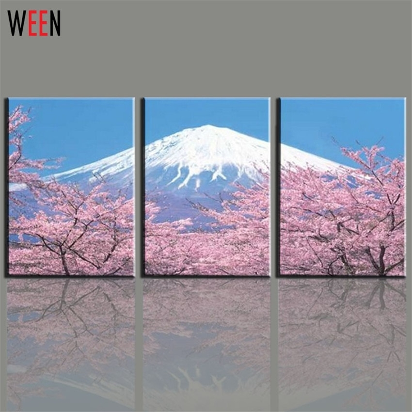 Modern 3 Panel Japanese Mount Canvas Wall Art For Living Romm Home Within Japanese Wall Art (Image 7 of 10)