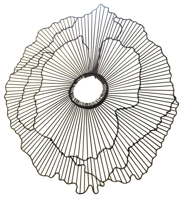 "Modern 40"" Wire Flower Wall Art, Contemporary Metal Sculpture Intended For Wire Wall Art (Image 7 of 10)"