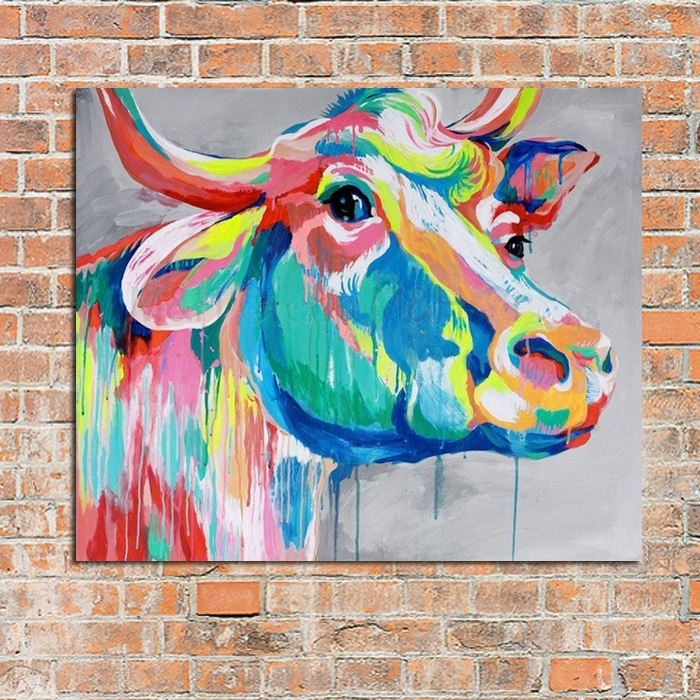 Modern Abstract Art 100%handpainted Oil Painting Cow Paintings On Intended For Cow Canvas Wall Art (Image 8 of 10)