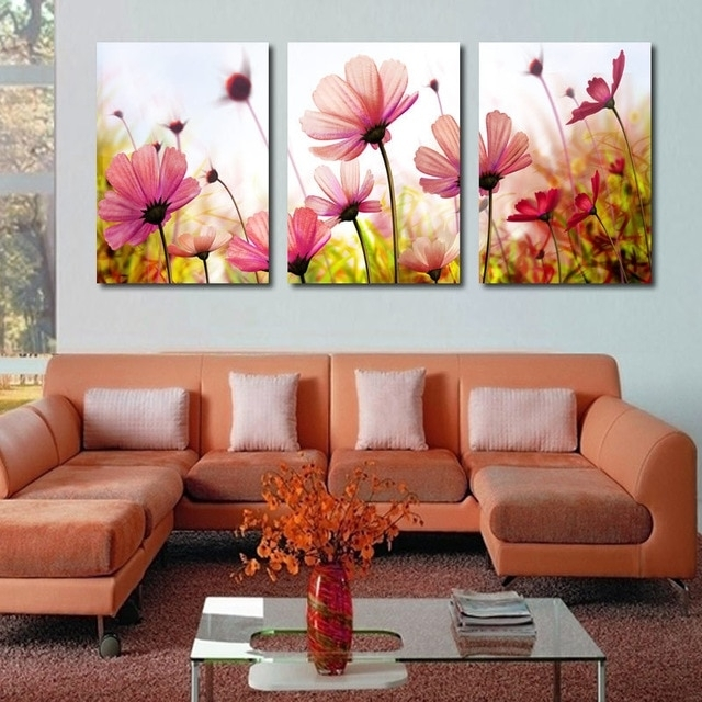 Modern Abstract Palette Knife Poppies Flower Oil Painting Wall Art Inside Living Room Painting Wall Art (Image 9 of 10)
