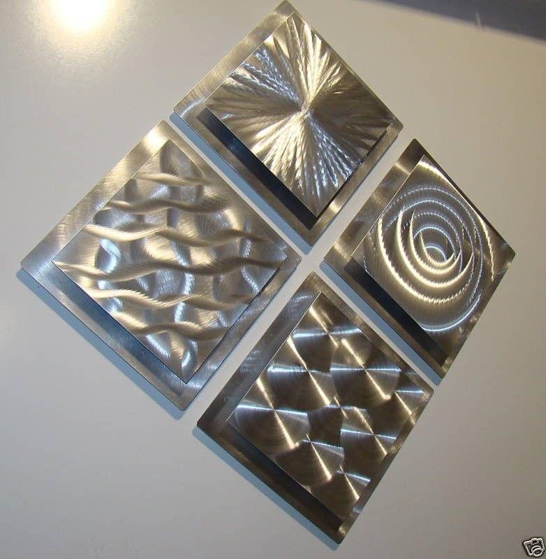 Modern Abstract Silver Metal Wall Art Original Home Decor Sculptures Throughout Metal Wall Art Sculptures (View 8 of 10)