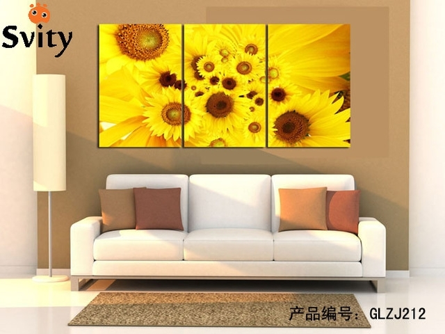 Modern Abstract Yellow And Pink Sunflower Wall Art Picture Print On Throughout Sunflower Wall Art (Image 6 of 10)