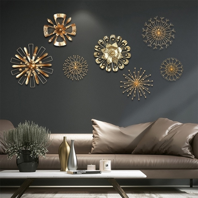 Modern Blossom Abstract Metal Wall Art Home Decor Iron Gold Wall With Gold Wall Art (Image 7 of 10)