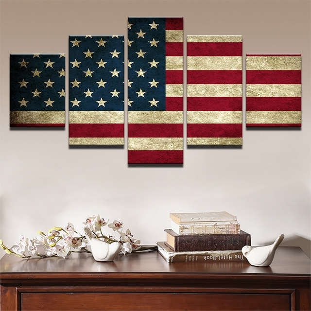 Modern Canvas Hd Prints Poster Wall Art Pictures Framework 5 Pieces Throughout Rustic American Flag Wall Art (Image 5 of 10)